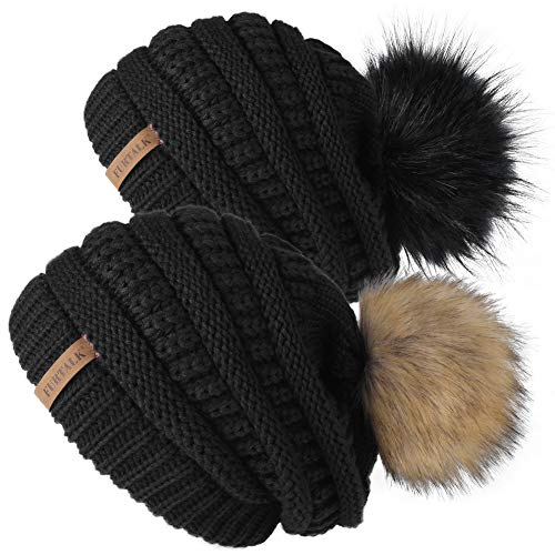 FURTALK Womens Slouchy Winter Knit Beanie Hats Chunky Hat Bobble Hat Ski Cap (One Size, Black+Black)