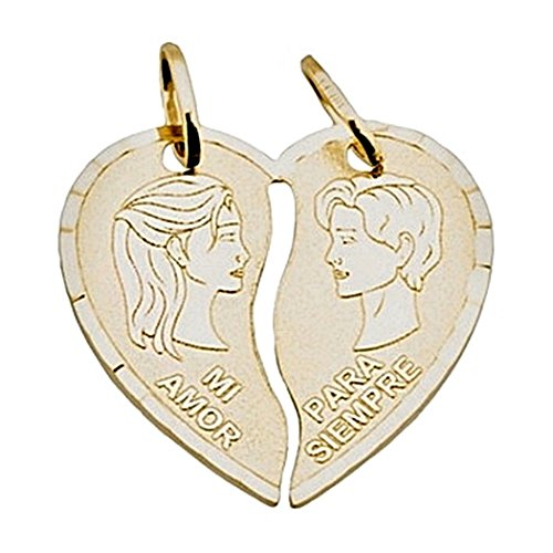 Or 18k partie pendentif coeur face MY LOVE FOREVER [8409]
