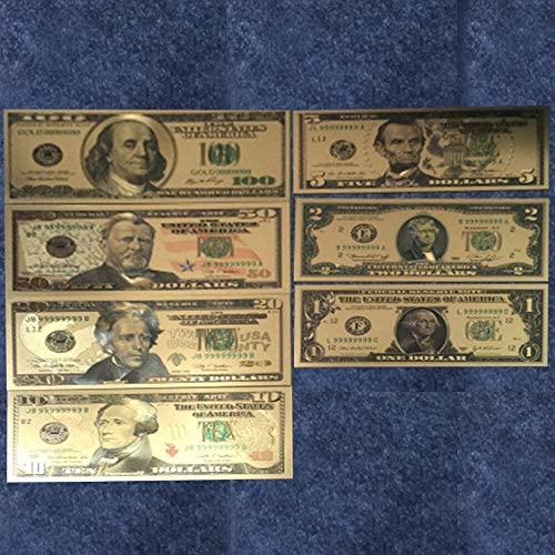 HENGTONGTONGXUN 7PCS 100/50/20/10/5/2/1ドルフェイクマネープロップマネー米国紙幣手形銀行注