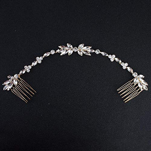 (Classic Wedding Long Hair Combs Austrian Crystal Bendable Bride Hair Jewelry Accessories Women Hairpins Hairpieces Gold)