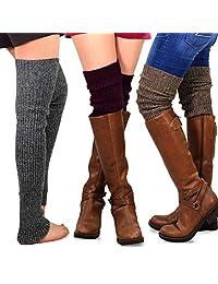 TeeHee Gift Box Women's Fashion Extra Long Thigh High Leg Warmers 3-Pack
