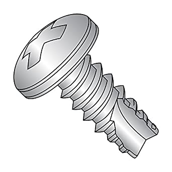18-8 Stainless Steel Thread Cutting Screw Type 25 Phillips Drive Pack of 100 1//4 Length #6-20 Thread Size Pan Head Plain Finish