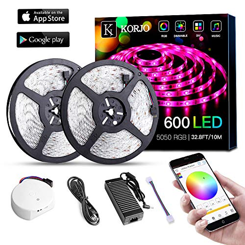 Solarphy 32.8ft/10m Led Strip Lights, Bluetooth App Controlled LED Music Light Waterproof Light Strips, 24V 600 Leds 5050 RGB Multicolored Rope Light Kit, Flexible Led Strip Lighting for Home Kitchen