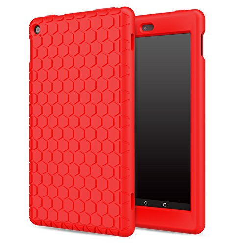 MoKo Case for Fire HD 8 2016 Tablet - [Honey Comb Series] Light Weight Soft Silicone Back Cover [Kids Friendly] for Amazon Fire HD 8 (Previous 6th Generation - 2016 Release ONLY), RED