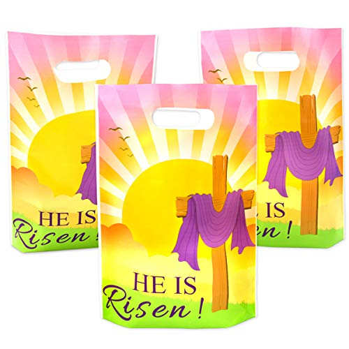 Easter Goody Bag He is Risen for Easter Party Favor Sunday School Celebrations Easter Egg Hunt Religious Event 25Pcs ()