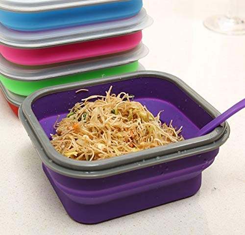 Best Quality - Lunch Boxes - Colors Silicone Collapsible Portable Healthy Lunch Box Folding Food Storage Container Lunchbox Bento Box Eco-Friendly - by SeedWorld - 1 ()