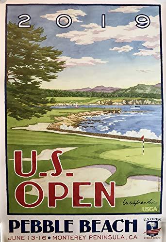 - 2019 U.S Open golf Poster pebble beach lee wybranski artist signed Tiger Woods new