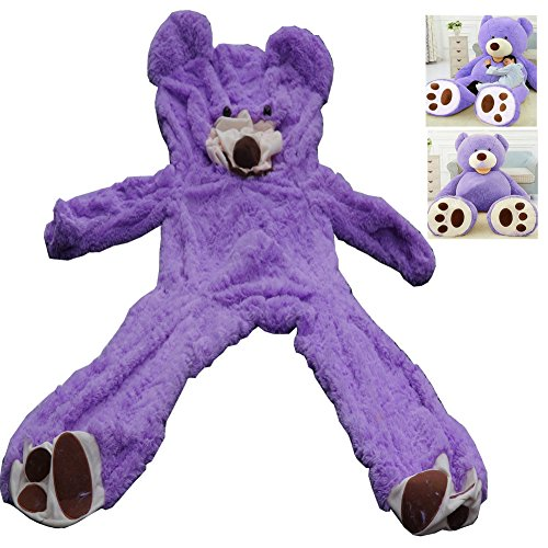 Livingly Light 200cm Huge No Filler Animal Teddy Bear Plush Soft Toy Lavender Purple Valentine's Day Birthday Gift, 6.5Ft 78'' Life-Size, Only Cover, No Cotton, Shell with Zipper