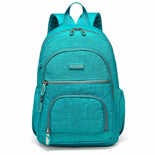 Price comparison product image AOTIAN Small Nylon Women Backpacks Casual Lightweight Strong Packback Daypack For Girls Cycling Hiking Camping Travel Outdoor Lake Blue