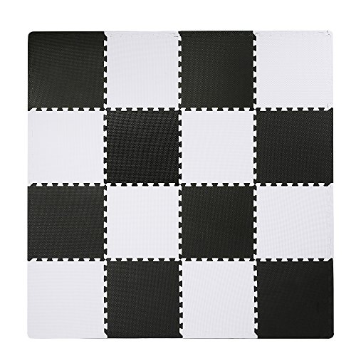 Interlocking Floor Tiles, Superjare EVA Foam Puzzle Mat, 16 Pieces with Borders Black and White