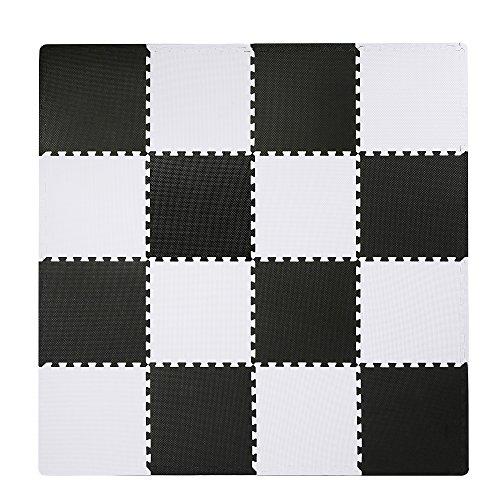 Interlocking Floor Tiles, Superjare EVA Foam Puzzle Mat, 16 Pieces with Borders Black and White