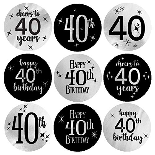 Black and Silver 40th Birthday Party Favor Labels | Shiny Foil | 198 Stickers]()