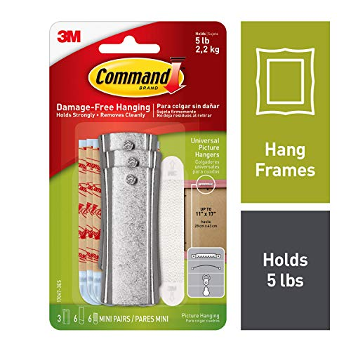 - Command 5 lb Capacity Large Sticky-Nail, 3 hangers, 6 strips, 6 frame stabilizer strips, Decorate Damage-Free (17047-3ES)