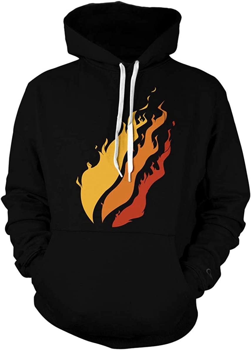 MKLJN Fashion Kids Preston Fire Nation Playz Gamer Flame Cool Pullover Hoodie Sweatshirt for Boys/Girls Black-1 M: Clothing
