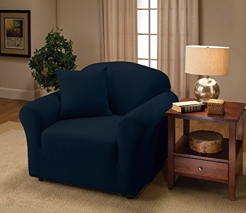 Arm Chair Box Cushion - Madison Stretch Jersey Chair Slipcover, Solid, Navy