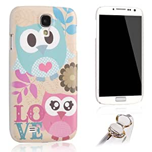 Uming Owl Case for Samsung Galaxy S4 I9500 I9505 More Owls Multi Color Colorful Cute Lovely Sweet Nice Owl with LOVE cloth Large round eyes twigs and leaves Flower Plastic Protector Case Cover Bag + 1X rhinestone bow Anti Dust Plug (LOVE Owl)