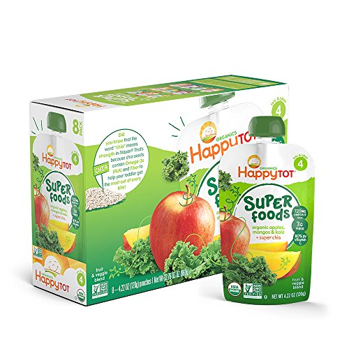 Happy Tot Organic Stage 4 Super Foods Toddler Food, Appple, Mango and Kale, 4.22 Ounce, 16 Count