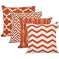 "Accent Home Cotton Canvas Throw Cushion Cover Printed Both Side For Home Sofa Couch, Chair Back Seat,4pc pack 18x18"" in Color Rust"