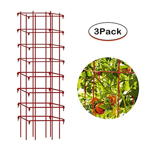 - Mr Garden EcoTrellis Vine Trellis Cage - Heavy Duty Trellis 64''H by 14''W Red Square Mesh, Climbing Plants Support for Tomato Eggplant Peppers Peas Cucumbers, 3 Pack