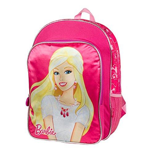 Barbie Deluxe Super Cute Girls School Bag Large Backpack 16 Inch (Pink)