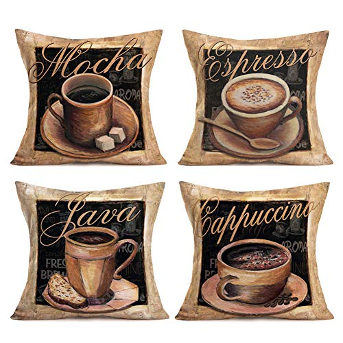 Hopyeer 4Set Retro Oil Painting Coffee Set Pattern Pillow Covers Mocha Java Cappuccino Black Background Cotton Linen Throw Pillow Cases Decor Couch Sofa Bed Car Cushion Covers 18