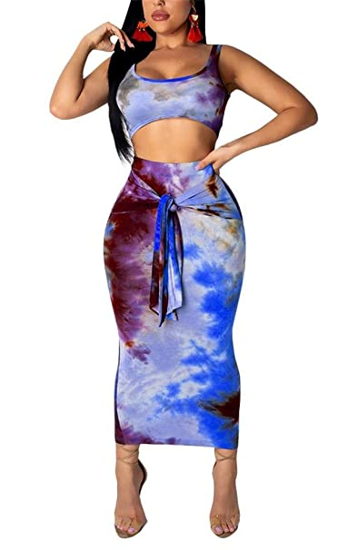 f9ef41b0e70 LKOUS 2 Piece Outfits for Women Summer Sleeveless Tie Dye Bodycon Crop Tank  Top and Midi