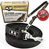 MCBInfinity Leather Dog Training Leash- Heavy Duty 6 Foot x 3/4 Inch Latigo Leather 2 Metal Rivets Each End+ BONUS Dog Car Safety Belt & Ebook K9 Lead Best Walking Training Medium Large Dogs (Black)