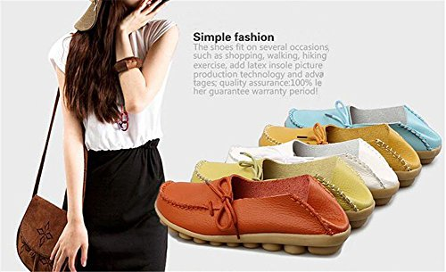 Driving Moccasin Loafer Slip Shoes Boat Women On Casual Leather Solid and Gold Flats LONSOEN wqzxE5R5