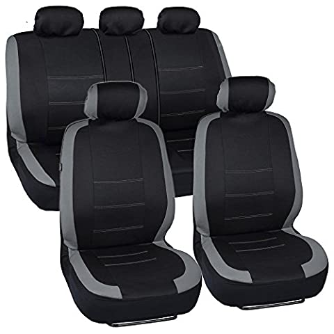 BDK Venice Series Car Seat Covers for Auto - Gray Stripes on Flat Black Cloth - Split Bench Function, Original Cover (2012 Honda Fit Seat Covers)