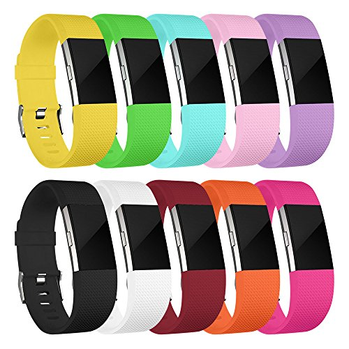 - ANCOOL Compatible with Fitbit Charge 2 Bands Soft Silicone Wristband Sport Band Replacement for Fitbit Charge 2-10PCS Small
