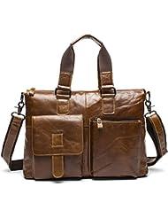 Stepack Genuine Leather Messenger Bag Briefcase Shoulder Laptop for Men (Brown)