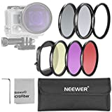 Neewer 52MM Filter Kit for Gopro Hero 3+/4: (6)Filters (UV + CPL+ FLD + ND4 + Yellow + Red) + (1)52mm Lens Filter Ring Adapter + (1)Microfiber Cleaning Cloth + (1)Filter Carrying Pouch