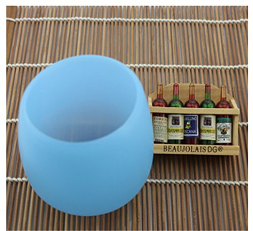 Prettysell Silicone Wine Glasses Unbreakable Wine Cup Premium Food Grade Stemless Drinking Cups 400ml Food Grade Flexible (Blue)