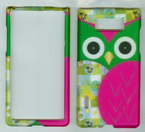 Green & Pink Owl Faceplate Hard Case Protector Cover for Lg Us730 Splendor / Venice Us Cellular / Boost Mobile / Sprint