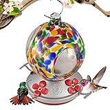Grateful Gnome Hummingbird Feeder - Hand Blown Glass - Flower Globe with Window - 24 Fluid Ounces