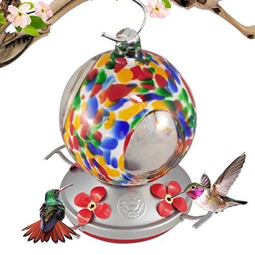 Grateful Gnome - Hummingbird Feeder - Hand Blown Glass