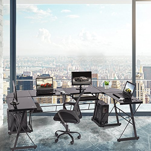 BestMassage L Shaped Desk Office Computer Glass Corner Desk with Keyboard Tray Set of 2