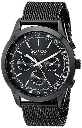 SO-CO-New-York-Monticello-5006A3-Reloj-de-pulsera-Cuarzo-Hombre-correa-deAcero-inoxidable-Negro