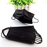 30 PCS Disposable Breathability Earloop Anti-Dust Fashion Face Mask Dust Filter Mouth Cover with Individual Package and 3 Layers of Protection for Shopping and Outdoor Activities(Black)