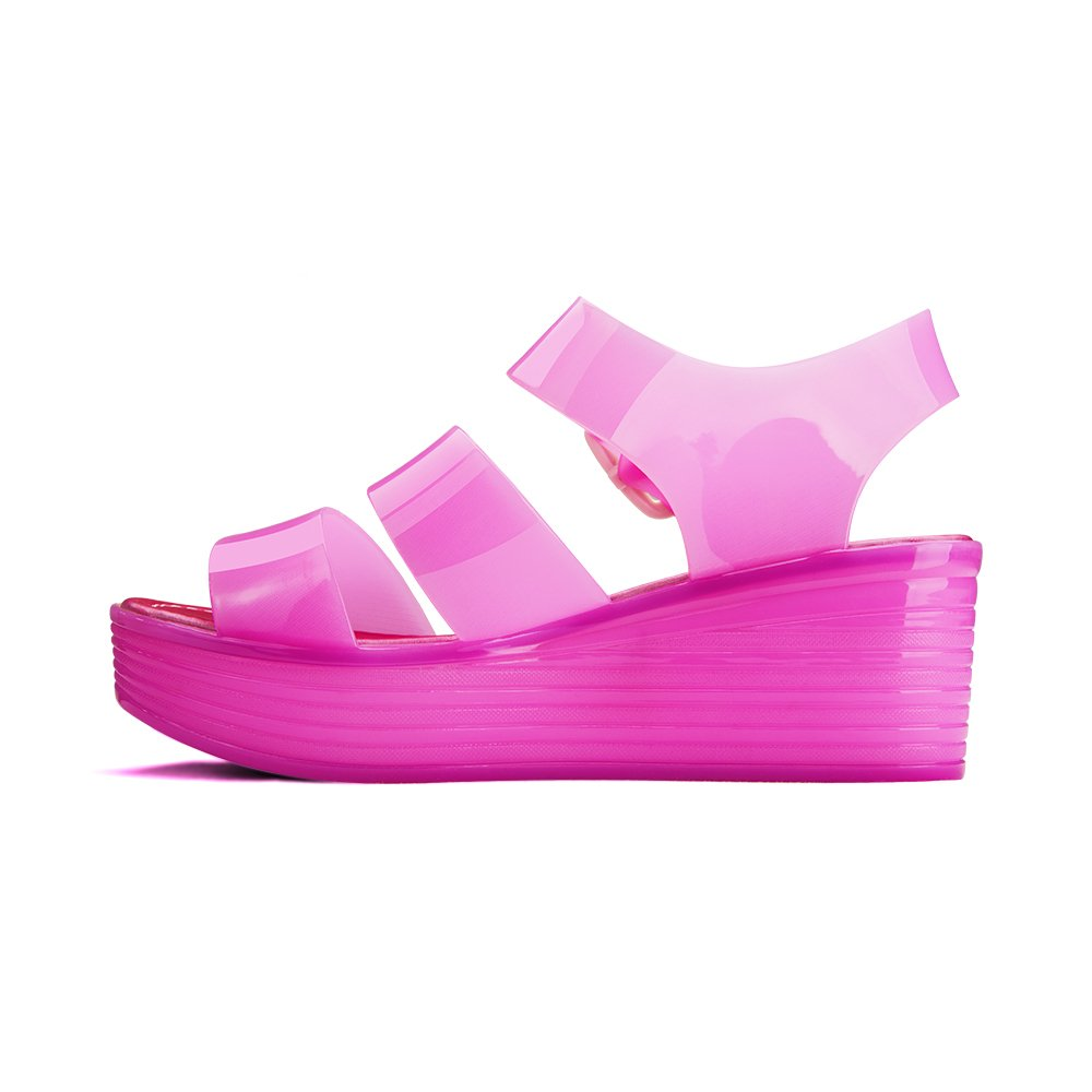 Chemistry Women's Jelly Platform Wedge Heel Sandals Adjustable Strap Upper Low Top Shoes,Pink,10 B(M) US