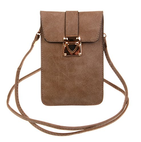 Brown Pouch - KISS GOLD (TM) Luxury Matte PU Leather Mini Crossbody Single Shoulder Bag Cellphone Pouch (Model A-Brown)