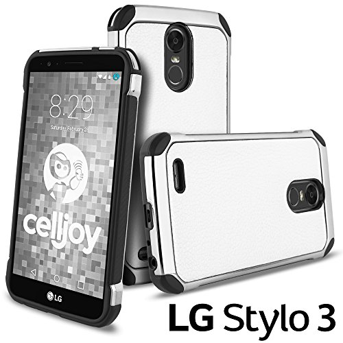 Celljoy Case compatible with LG Stylo 3, LG Stylus 3, LG Stylus 3 Plus, LG LS777 [Deluxe Shock Armor](Shockproof){Impact Resistant} Slim Fit Hybrid - Mirror Finish - Hard Shell - Elegant Cover (White) (Wht Finish Chrome)