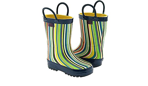 Pluie Pluie Toddler Little Girls Blue Stripe Rain Boots 5-2