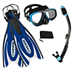 Cressi Frog Plus Fin Focus Silicone Mask Dry Snorkel Set, Blue, X-Small/Small/Men' s 5-7/Women's 6-8
