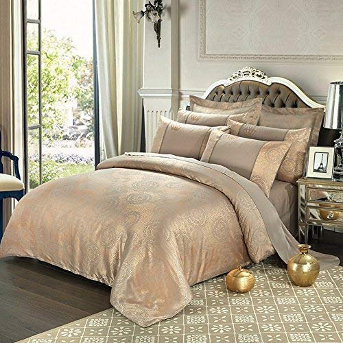 (UniTendo 4 Piece Sateen Cotton European Luxury Jacquard Duvet Cover Sets,Delicate Floral Pattern Bedding Sets,Duvet Cover Flat Sheet and 2 Pillowcases,Queen, Antique Gold)