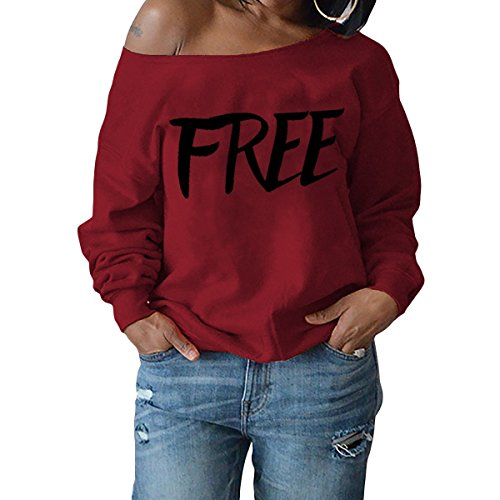 Chemise Femmes lettre imprime paule longue l'automne fortnite QHDZ femme Hoodies chemiser Sexy longues Sweatshirt sweatshirt pull Red Free manches lache p8wZXnnAq