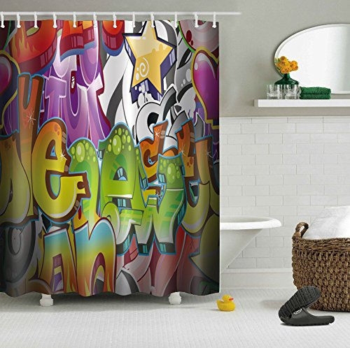 LB Graffiti Stytle 3D Digital Printing 72x72 inch Customized Anti Bacterial Waterproof Personality Polyester Fabric Bathroom Shower Curtain for Home/Travel/Hotel with Hooks (Halloween 1880)