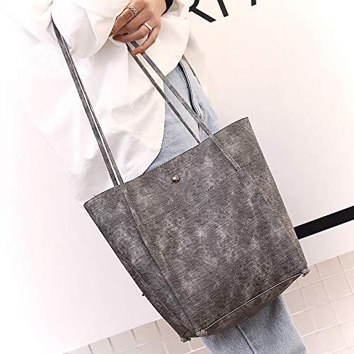 Trend Shoulder Gray Clearance Faux Tote Handbag ZOMUSAR Minimalist Leather Cut Womens vxwqE8wrI