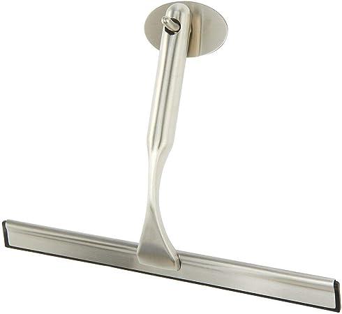 mDesign Rasqueta limpia cristales para baño – Práctico accesorio para limpiar mamparas de ducha o ventanas – Limpiavidrios de metal y plástico con gancho autoadhesivo para colgar – plateado mate: Amazon.es: Hogar