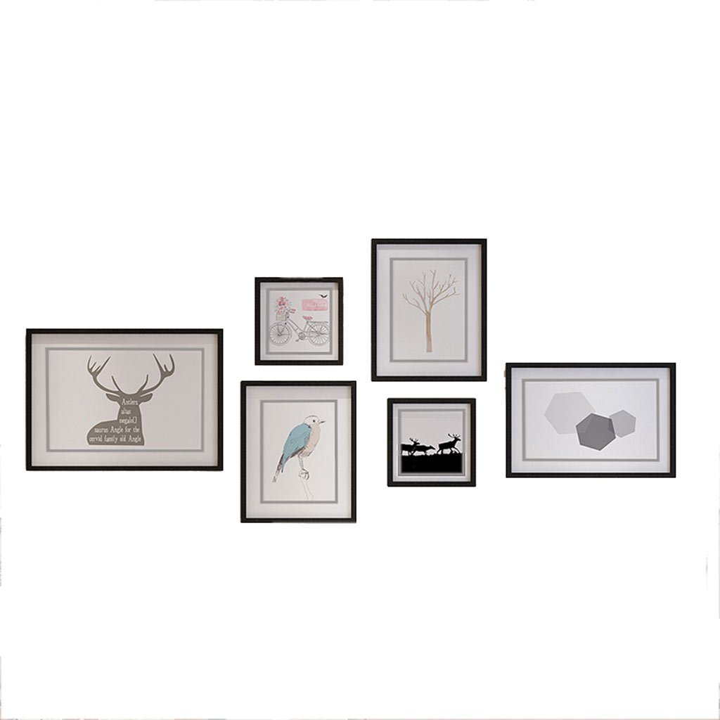 GAO JI FENG Photo Wall- 6 Bilderrahmen-Wand-Galerie-Kit enthält: Rahmen, Perfekter Rahmen, hängende Wandvorlage, Kunstmalereikern